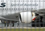 A Qantas Airbus A380 jet that dramatically lost an engine in a mid-air blast off Singapore in November 2010 (pictured) was formally handed back to the Australian flag carrier on Saturday after extensive repairs