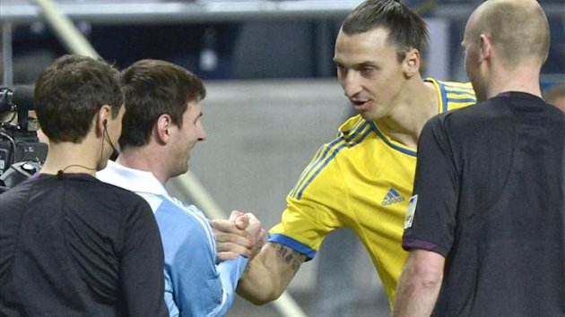 Argentina's Lionel Messi and Sweden's Zlatan Ibrahimovic shake hands (Reuters)