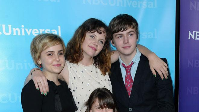 """Mae Whitman, Sarah Ramos, Miles Heizer, and Savannah Paige Rae (""""Parenthood"""") attend the 2012 NBC Universal Winter TCA All-Star Party at The Athenaeum on January 6, 2012 in Pasadena, California."""