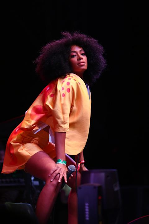 Solange performs at the 2014 Coachella Music and Arts Festival on Saturday, April 19, 2014, in Indio, Calif. (Photo by Zach Cordner/Invision/AP)