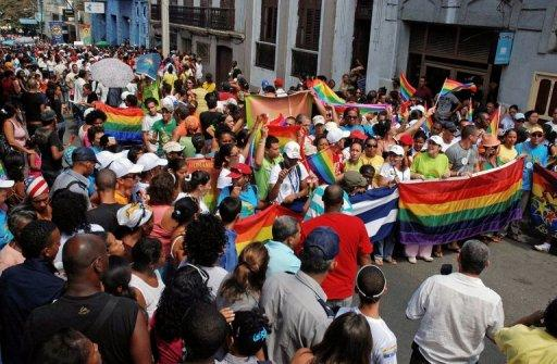 Cubans take part in a march to commemorate the World Day Against Homophobia in 2011