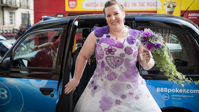 Bride Spent 1,000 Hours Creating Her Crocheted Wedding Dress