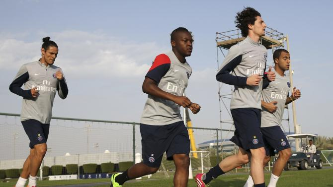 Paris Saint-Germain players take part in a training session at the Aspire Academy of Sports Excellence in Doha