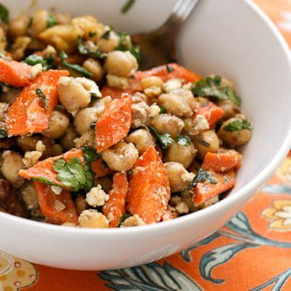 Roasted Carrot and Chickpea with Feta Salad