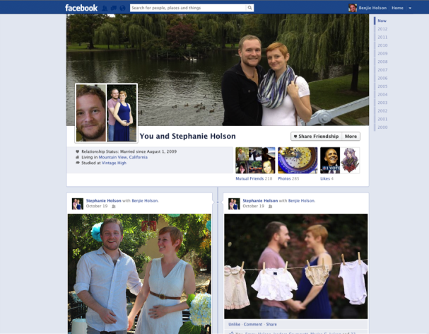 The new Friendship pages have shown up, unasked, for users who are 'Married' or 'In Relationships' (Image: Facebook)