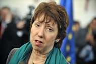 "The European Union's foreign policy chief Catherine Ashton in 2011. Ashton has said she will travel to Myanmar on Saturday and open an EU office which would be the ""first step"" toward establishing a full delegation"