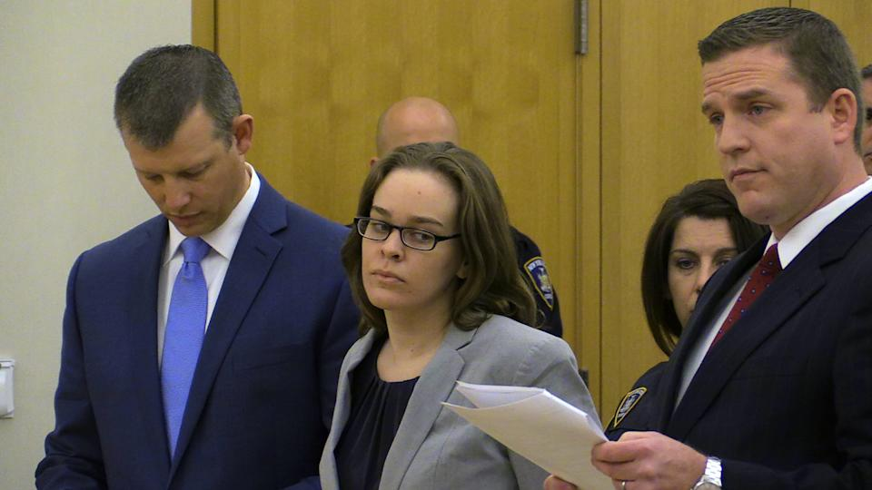 Lacey Spears looks toward her attorney during her sentencing by Judge Robert Neary on Wednesday, April 8, 2015 at the Westchester County Courthouse in...