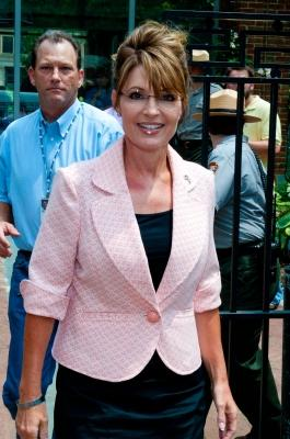 "Sarah Palin leaves the Liberty Bell Center during her ""One Nation"" bus tour in Philadelphia, Pennsylvania on May 31, 2011 -- Getty Images"