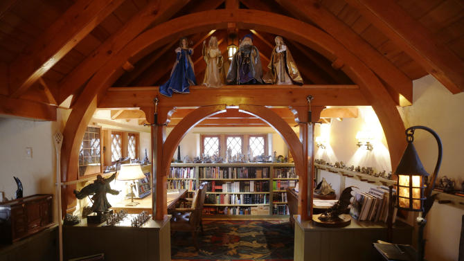 "Shown is an Interior view of the ""Hobbit House"" Tuesday, Dec. 11, 2012, in Chester County, near Philadelphia. Architect Peter Archer has designed a ""Hobbit House"" containing a world-class collection of J.R.R. Tolkien manuscripts and memorabilia. (AP Photo/Matt Rourke)"