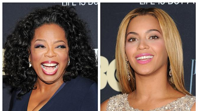 """This photo combo shows Oprah Winfrey, left, and Beyonce Knowles attending the premiere of """"Beyonce: Life Is But A Dream"""" at the Ziegfeld Theatre on Tuesday, Feb. 12, 2013, in New York. (Photo by Evan Agostini/Invision/AP)"""