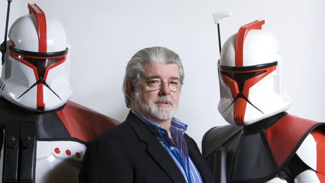 "FILE - In this March 13, 2008 file photo, director/producer George Lucas poses for portrait in Las Vegas.  Lucas wrote and produced the upcoming movie ""Star Wars: The Clone Wars.""There's no mistaking the similarities. A childhood on a dusty farm, a love of fast vehicles, a rebel who battles an overpowering empire, George Lucas is the hero he created, Luke Skywalker. (AP Photo/Matt Sayles, File)"