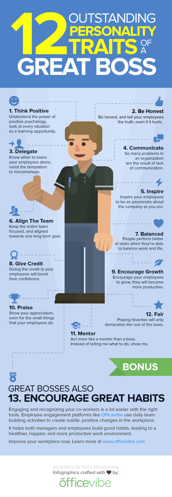 12 personality traits of a great boss infographic