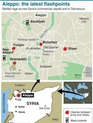 Map locating fighting between army and rebels in Aleppo. Syrian rebels staved off a fightback by regime forces in Aleppo on Saturday amid growing concern about the risks of reprisals against civilians in the country's commercial capital