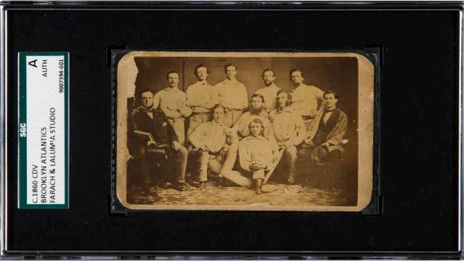A rare pre-Civil War baseball card featuring the 1860s Brooklyn Atlantics is pictured in this handout photo