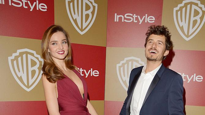 InStyle And Warner Bros. Golden Globe Party - Arrivals: Miranda Kerr and Orlando Bloom