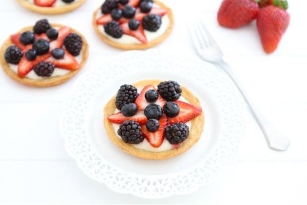 Mini fruit pizzas.