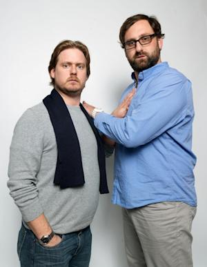 """Writer/directors Tim Heidecker, left, and Eric Wareheim, from the film """"Tim and Eric's Billion Dollar Movie,"""" pose for a portrait during the 2012 Sundance Film Festival on Saturday, Jan. 21, 2012, in Park City, Utah. (AP Photo/Victoria Will)"""