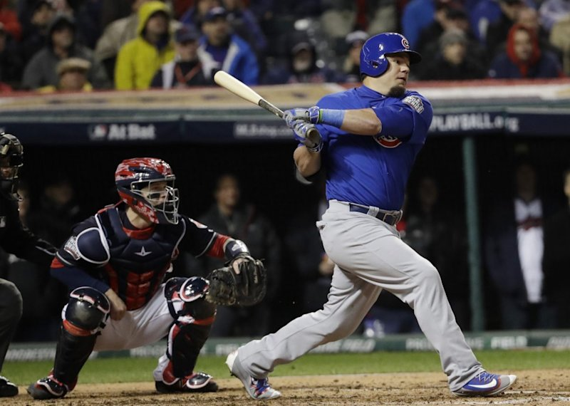 The Cubs used Kyle Schwarber as their DH in the first two games of the World Series. (AP)