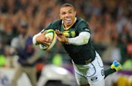 Springbok wing Bryan Habana, pictured in September 2012, was named South African Rugby Player of the Year at a ceremony here on Thursday as he became only the second star ever to win the award more than twice