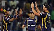 Kolkata Knight Riders Shakib Al Hasan (L), Gautam Gambhir (C) and Jacques Kallis celebrate after the wicket of Delhi Daredevils Ross Taylor during their IPL Twenty20 at Subrata Roy Sahara Stadium in Pune. Kallis and Sunil Narine shared four wickets to bowl Kolkata Knight Riders into the Indian Premier League final with a comfortable 18-run victory over Delhi Daredevils