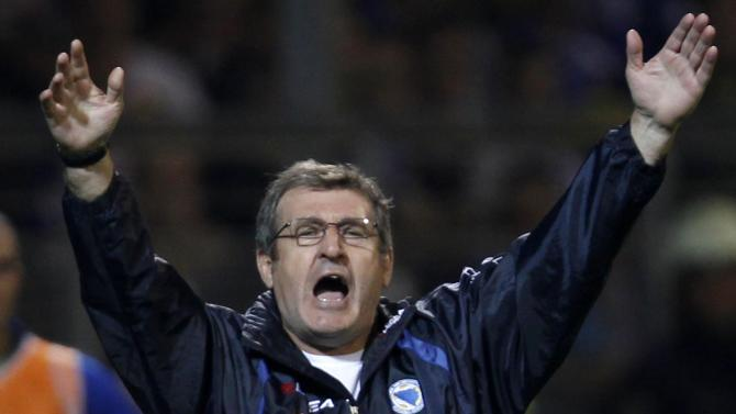 Bosnia coach Safet Susic gestures during their 2014 World Cup qualifying soccer match against Slovakia in Zenica