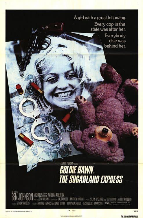 <p>三、《橫衝直撞大逃亡》The Sugarland Express,1974:《橫衝直撞大逃亡》是史蒂芬史匹柏罕見改編自真人實事的電影。當年史蒂芬史匹柏為專心拍攝本片而推掉多部片約,只因他在報上看到一則新聞,有一對夫妻用盡了各種手段,想搶回住在養父母家中的親生孩子,也迫使警方出動了九十多輛警車大舉追捕。史蒂芬史匹柏邀得歌蒂韓領銜主演,但電影上映時票房並不理想,媒體評價更是優劣參半。有人認為劇本過於單薄,也有媒體認為史蒂芬史匹柏太過強調飛車追逐,但本片仍在當年坎城影展贏得最佳劇本獎。(圖:電影海報/IMDb) </p>