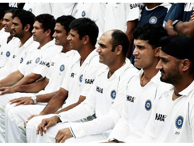 Sourav Ganguly along with other teammates pose for a group   picture during a practice session at the Chinnaswamy Stadium in Bangalore.  Getty Images