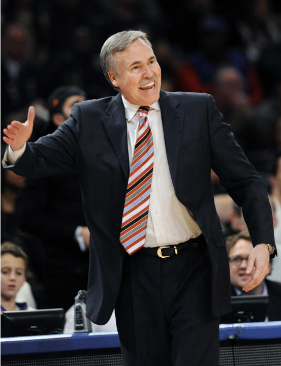 FILE - In this Feb. 4, 2012, file photo, then-New York Knicks coach Mike D'Antoni reacts during the third quarter of an NBA basketball game against the New Jersey Nets at Madison Square Garden in New