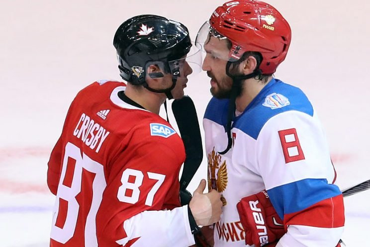 TORONTO, ON - SEPTEMBER 24: Sidney Crosby #87 of Team Canada and Alex Ovechkin #8 of Team Russia have a chat after Team Canada's 5-3 victory at the semifinal game during the World Cup of Hockey 2016 at Air Canada Centre on September 24, 2016 in Toronto, Canada. (Photo by Dave Sandford/World Cup of Hockey via Getty Images)