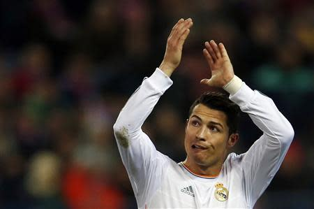 Real Madrid's Ronaldo is substituted by Rodriguez during their Spanish King's Cup semi-final second leg match against Atletico Madrid in Madrid