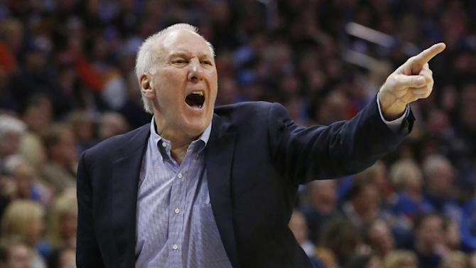 San Antonio head coach Gregg Popovich shouts in the fourth quarter of an NBA basketball game against the Oklahoma City Thunder in Oklahoma City, Wednesday, Nov. 27, 2013. Oklahoma City won 94-88