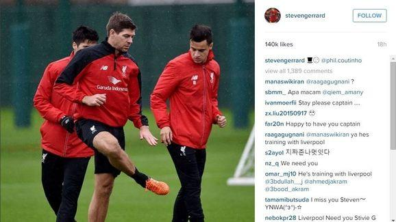 Steven Gerrard Treated Reds Fans to Some Instagram Gold After Returning to Liverpool