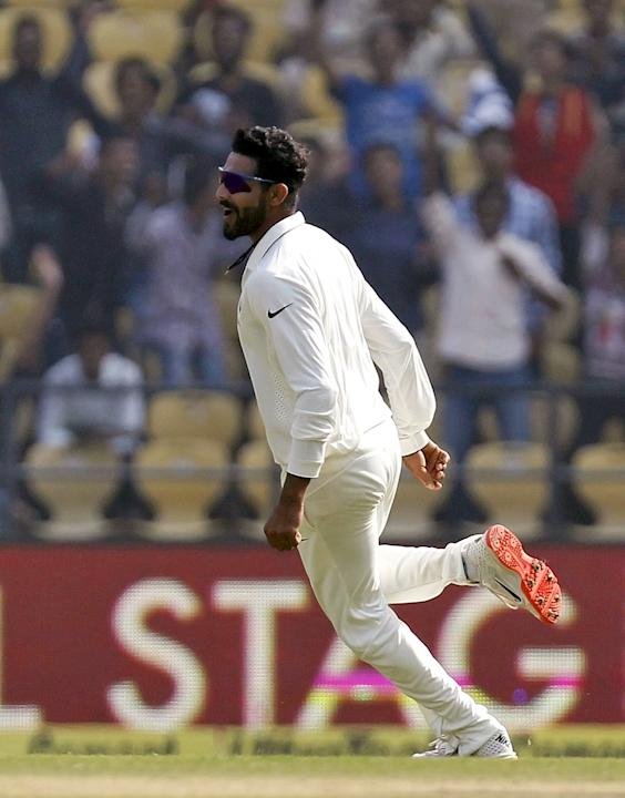 India's Jadeja celebrates taking the wicket of South Africa's de Villiers during the second day of their third test cricket match in Nagpur