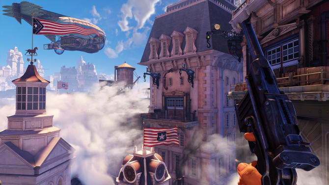 """This undated publicity photo provided by 2K Games/Irrational Games shows  a scene from the video game, """"BioShock Infinite.""""  """"Infinite"""" was originally set for release this year before it was pushed to Feb. 26, 2013. The game's Creative Director, Ken Levine, said Wednesday, Dec. 5, 2012, that """"Infinite"""" is now scheduled for release March 26, 2013, so that the developers can polish the game even further. (AP Photo/2K Games/Irrational Games)"""