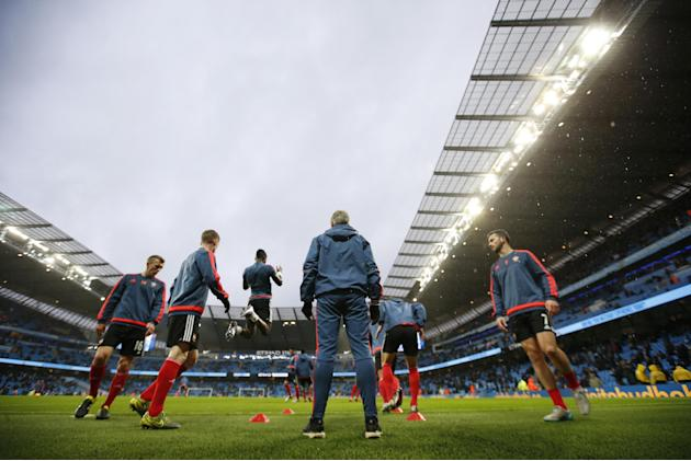 General view as Southampton players warm up before the match