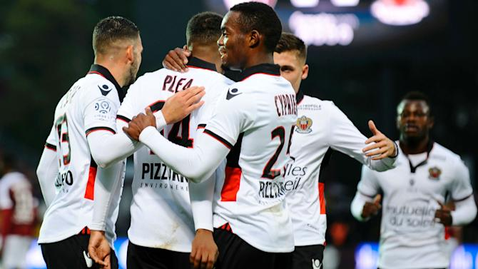 Alassane Plea hits three as Ligue 1 leaders Nice down Metz