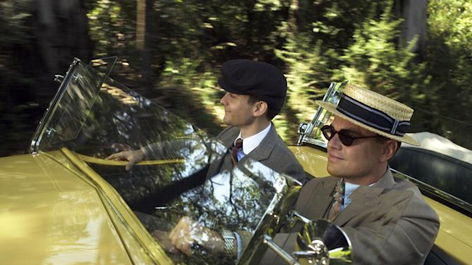 "This film publicity image released by Warner Bros. Pictures shows Tobey Maguire as Nick Carraway and Leonardo DiCaprio as Jay Gatsby in a scene from ""The Great Gatsby."" (AP Photo/Warner Bros. Pictures)"
