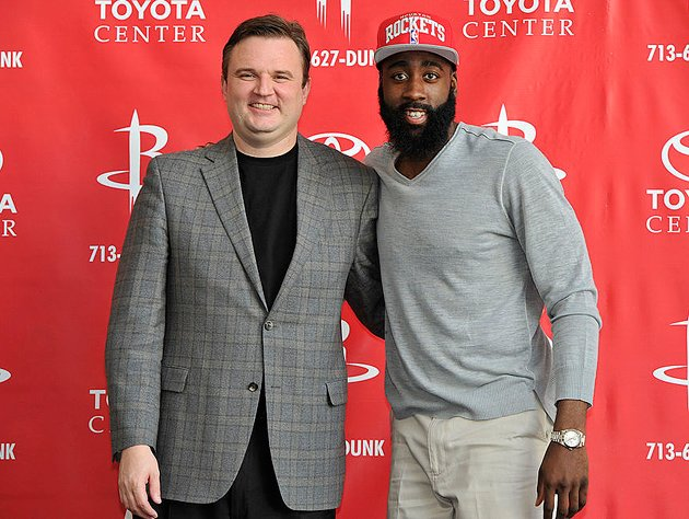 Daryl Morey (left) and James Harden. (Getty Images)