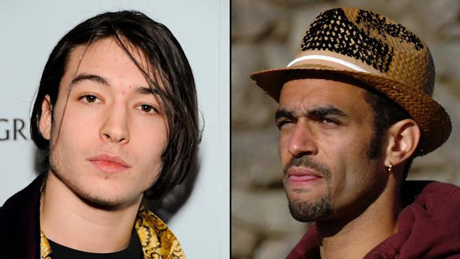 "FILE - This combination of undated file photos shows Ezra Miller, left, who stars in the recently released film ""The Perks of Being a Wallflower,"" and hip hop producer Sol Guy, right. The two are appearing in a documentary-style film with Last Real Indians founder Chase Iron Eyes to try to raise $9 million by the end of November, 2012, to buy back a piece of land in South Dakota that Native American tribes consider sacred.  (AP Photos/file)"