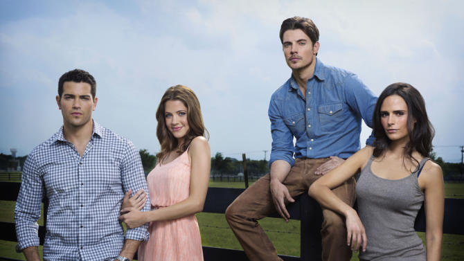 "Jesse Metcalfe as Christopher Ewing, Julie Gonzalo as Rebecca Sutter, Josh Henderson as John Ross Ewing, and Jordana Brewster as Elena Ramos in ""Dallas."""