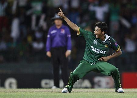 Pakistan's Hasan celebrates after taking the wicket of Australia's Maxwell during their Twenty20 World Cup Super 8 cricket match in Colombo