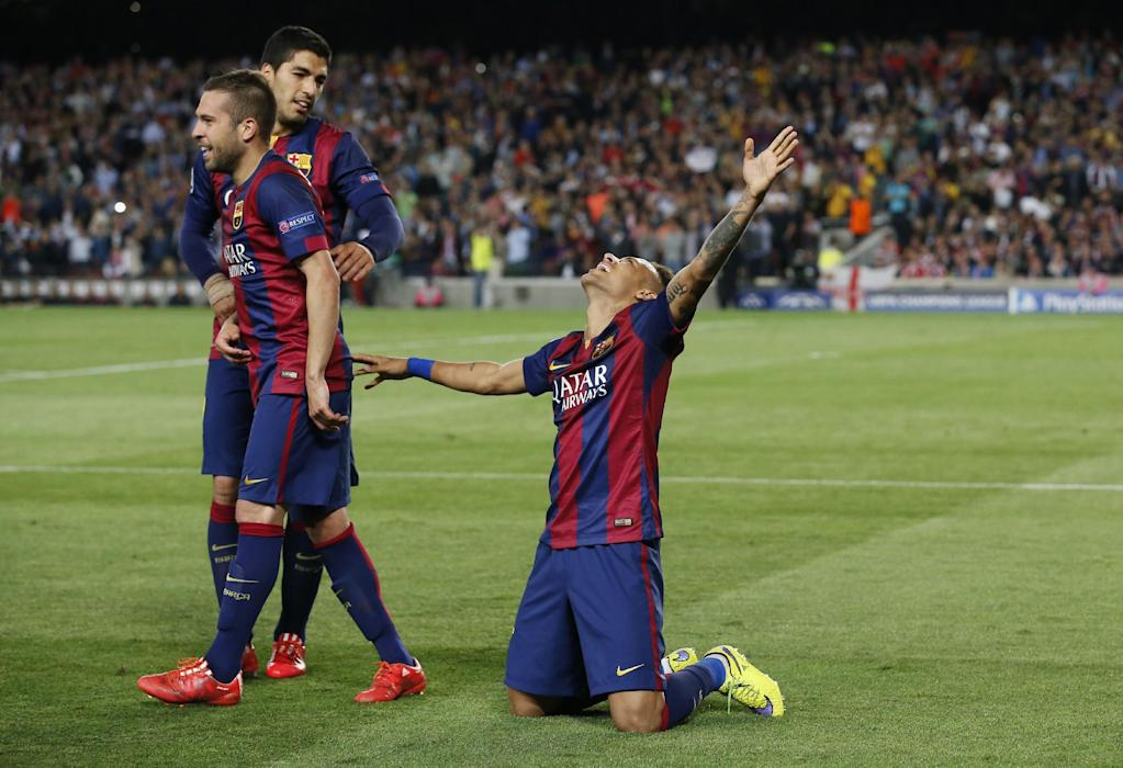 Football: Barcelona's Neymar celebrates after scoring their third goal