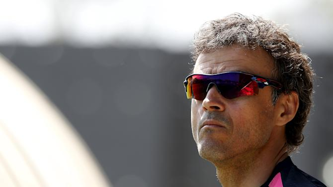 Barcelona's coach Luis Enrique looks on before a training session at the Barcelona training grounds Ciutat Esportiva Joan Gamper in Sant Joan Despi near Barcelona