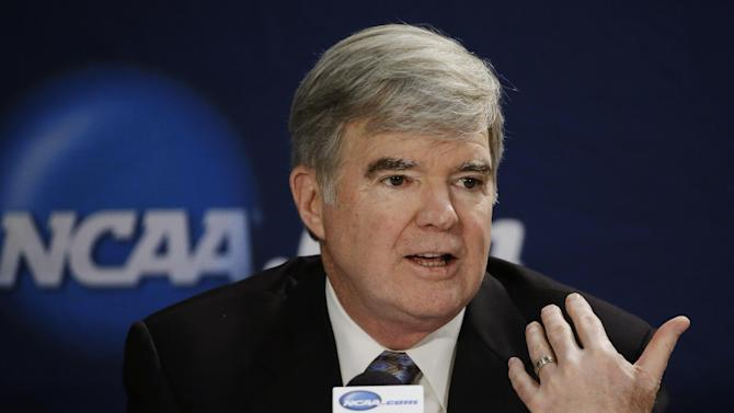 NCAA President Mark Emmert answers a question at a news conference Sunday, April 6, 2014, in Arlington, Texas