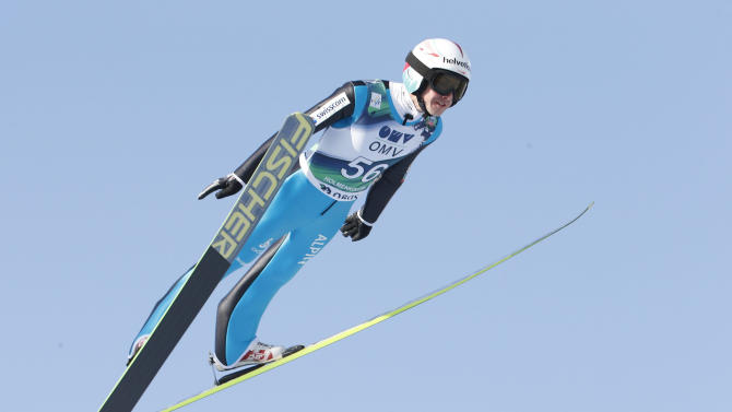 Simon Amman of Switzerland competes at the Ski Jumping World Cup at the Holmenkollen Ski Arena in Oslo