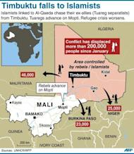 """Map of Mali locating Islamist/rebel held towns, with data on refugee movements. The UN Security Council called for an immediate ceasefire and return to democracy in Mali, prompting an announcement of an end to """"military operations"""" by Tuareg rebels in the north."""