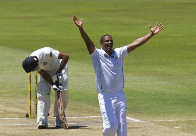South Africa's Philander celebrates the wicket of India's Sharma during the fifth day of the second test cricket match in Durban