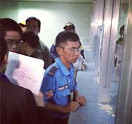 MMDA T/C Saturnino Fabros filing the direct assault case against Carabuena. Photo by Yves Gonzales (Instagram/Twitter)