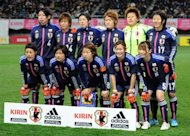 File photo shows Japan's players posing for a photo prior to a match at Kirin Challenge Cup in Sendai, Japan, in April. It has been revealed that Japan's world champion women footballers were seated in premium economy while their male colleagues enjoyed business class on a flight to Europe for the Olympics