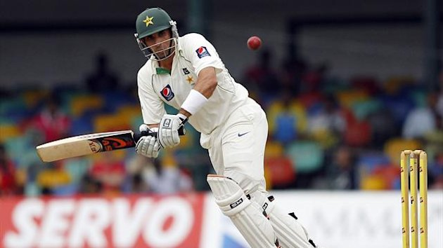 Pakistan's captain Misbah-ul-Haq plays a shot